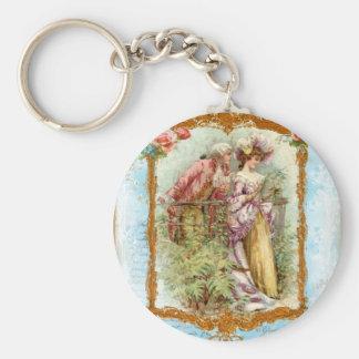 Estilo francés de la regencia de los pares románti llavero redondo tipo pin