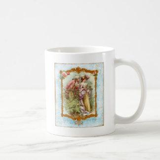 Estilo francés de la regencia de los pares románti taza básica blanca
