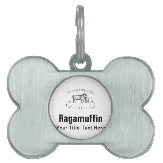 Estilo francés del vintage de la expresión de la placa de nombre de mascota