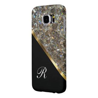 Estilo glamoroso de Bling del monograma Fundas Samsung Galaxy S6
