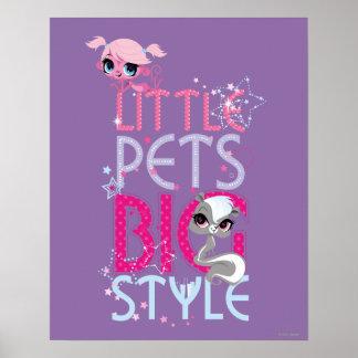 Estilo grande 1 de los pequeños mascotas poster