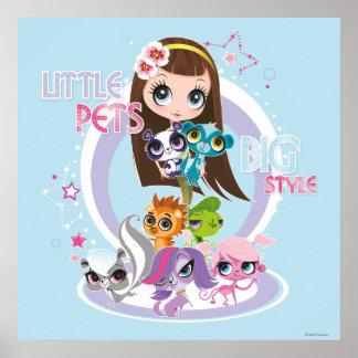Estilo grande 2 de los pequeños mascotas poster