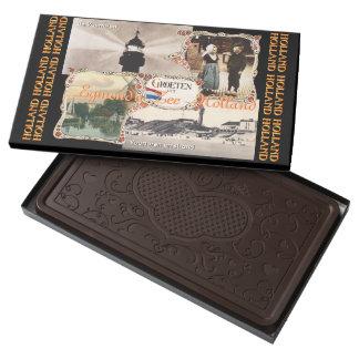 Estilo Holanda Egmond Zee aan del vintage Caja Con Tableta De Chocolate Negro Grande