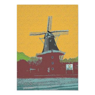 Estilo holandés de Van Gogh del molino de viento Invitación 12,7 X 17,8 Cm