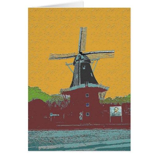 Estilo holandés de Van Gogh del molino de viento Tarjeta De Felicitación