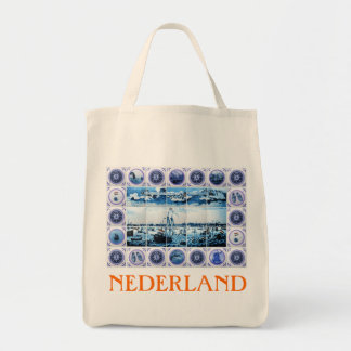 Estilo holandés del mural de la teja de Delftware  Bolsa Tela Para La Compra