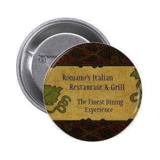 Estilo italiano - el restaurante/la tienda añade e pin redondo de 2 pulgadas