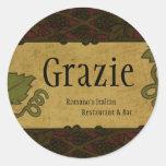 Estilo italiano - el restaurante/la tienda añade pegatina redonda