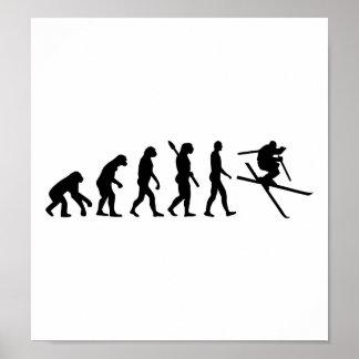Estilo libre del esquí de la evolución póster