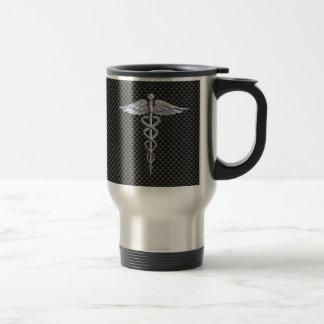 Estilo médico de la fibra de carbono del símbolo taza de viaje
