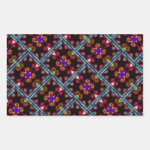 Estilo mexicano negro colorido rectangular pegatinas