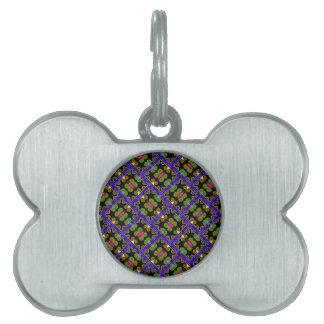 Estilo mexicano púrpura y verde colorido placa de mascota
