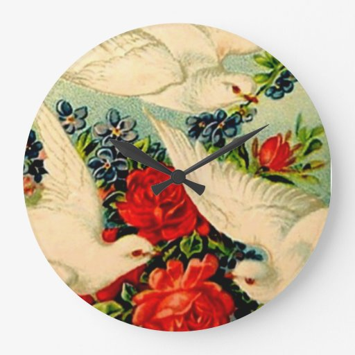Estilo moderno del arte del vintage de los rosas d reloj redondo grande