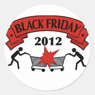 Estilo negro 2012 de viernes pegatina redonda