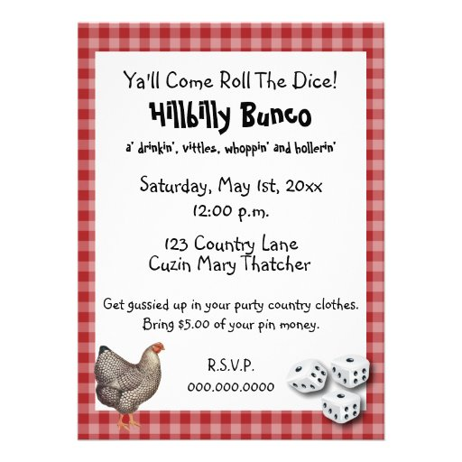 Estilo o estilo rural de Bunco Hillybilly Comunicados Personalizados
