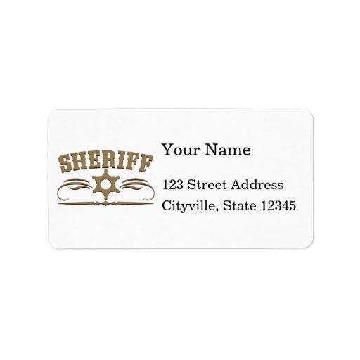 Estilo occidental del sheriff etiquetas de dirección
