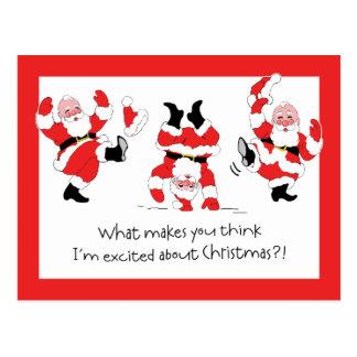 Estilo Papá Noel del vintage emocionado sobre Postal