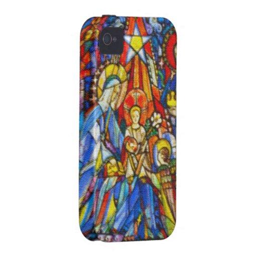 Estilo pintado natividad del vitral carcasa para iPhone 4/4S