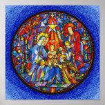 Estilo pintado natividad del vitral impresiones