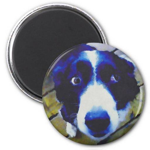 Estilo pintado ojos tristes del perro de perrito imán redondo 5 cm