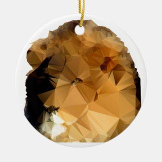 Estilo polivinílico bajo principal del vector del adorno navideño redondo de cerámica