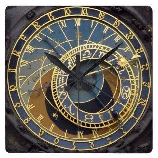 Estilo Praga astronimical de Steampunk Reloj Cuadrado