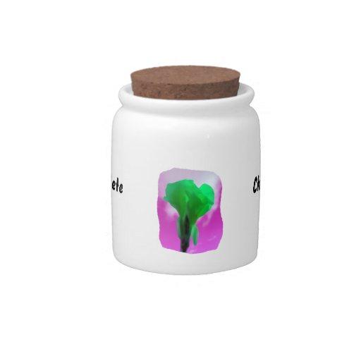 Estilo púrpura de la acuarela del cielo de la flor platos para caramelos