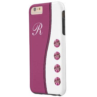 Estilo púrpura del monograma de Bling Funda De iPhone 6 Plus Tough