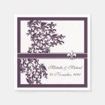 Estilo púrpura personalizado del damasco de la servilletas de papel