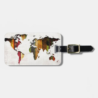 Estilo rayado del vintage del mapa del mundo etiqueta de maleta