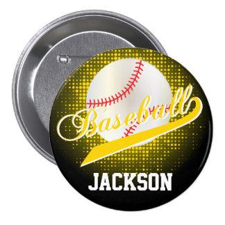 Estilo retro amarillo del béisbol pin redondo 7 cm
