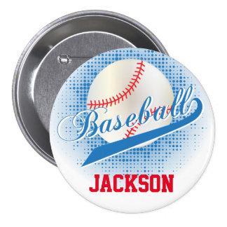 Estilo retro azul del béisbol pin redondo 7 cm