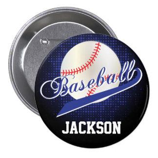 Estilo retro azul marino del béisbol pin redondo 7 cm