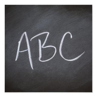 """Estilo retro de ABC del fondo de la pizarra de la Invitación 5.25"""" X 5.25"""""""