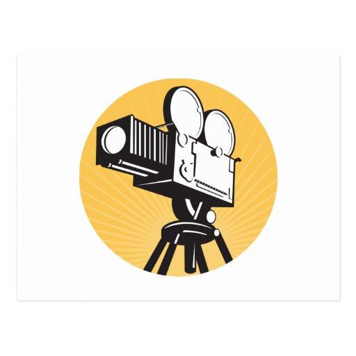 estilo retro de la cámara de la película de cine d postal
