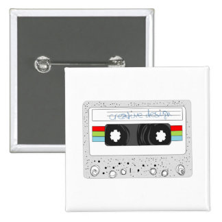 Estilo retro de la cinta de casete 80s pin cuadrada 5 cm