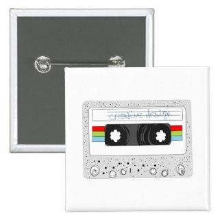 Estilo retro de la cinta de casete 80s pin cuadrado
