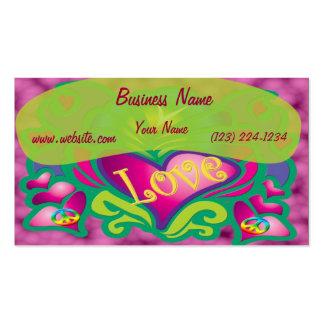 Estilo retro de la paz y del amor tarjetas de visita