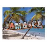 Estilo retro de la postal de Jamaica Negril
