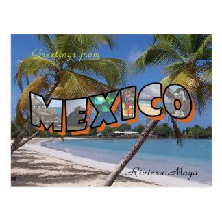 Estilo retro de la postal de México del maya de Ri