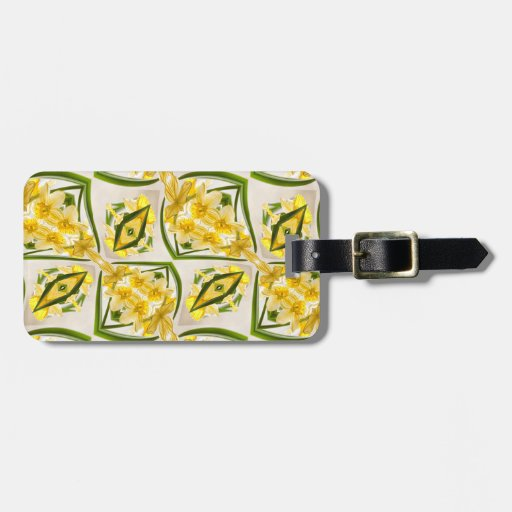 Estilo retro de los narcisos amarillos etiquetas para equipaje