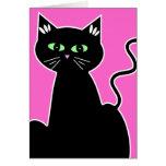 Estilo retro de ojos verdes del gato negro toda la felicitaciones