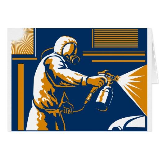 Estilo retro del arma de aerosol de la pintura del tarjeta de felicitación