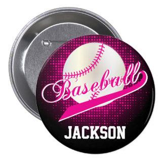 Estilo retro del béisbol de las rosas fuertes pin redondo 7 cm