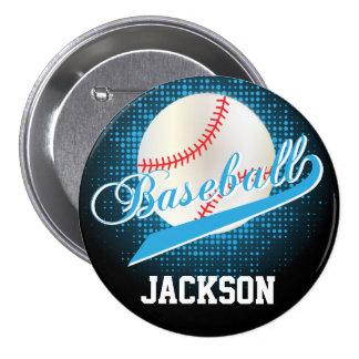 Estilo retro del béisbol de los azules cielos pin redondo 7 cm