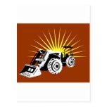 estilo retro del tractor de granja del vintage postal