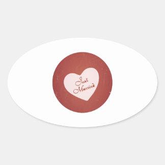 Estilo retro del vintage apenas casado en rojo calcomania de oval personalizadas
