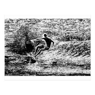 Estilo retro del vintage que practica surf postal