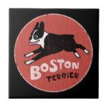 Estilo retro fresco de Boston Terrier Teja Cerámica
