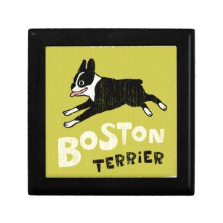 Estilo retro fresco de Boston Terrier Joyero Cuadrado Pequeño